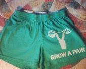 Grow a Pair Uterus Feminist Stencil DENIM Shorts