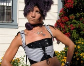 Purple Tiger Monster Kitty Hat Burning Man playa wear by Krisztina Lazar in Luxurious faux fur