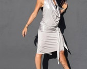 Molten Silver Dress draped front Halter gown by Krisztina Lazar formal cocktail wear to beach wear
