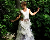 SALE Titania White Wedding Midsummers Night Dream Dress gown upcycled linen crochet lace and tulle sz 4 to 6 by Krisztina Lazar