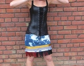 One Way or Another Carnival Noir Recycled Jeans Mini Skirt with burgundy and black fringe by Krisztina Lazar