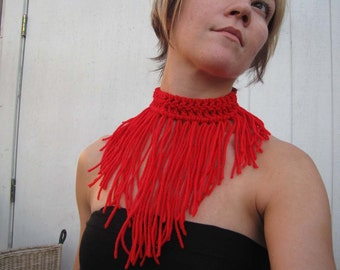 Love Me Do Scarlet Necklace Fiber Art Crochet Jewelry also available in Black