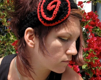 Hair Rose Headband in Ebony and Scarlet by Krisztina Lazar black and red burlesque crochet flapper hippie headdress