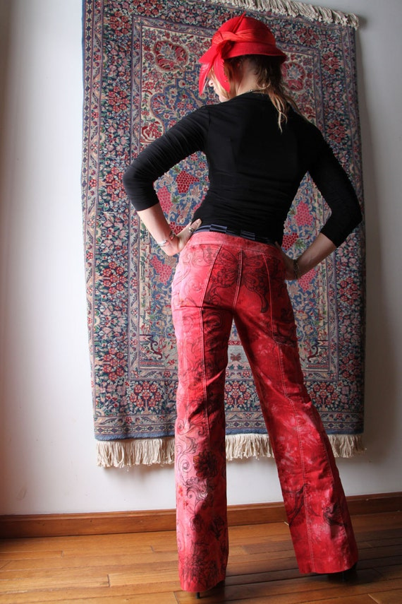 Love is like a Red Red Rose Tattoo Jeans illustrated and dyed pants by Krisztina Lazar
