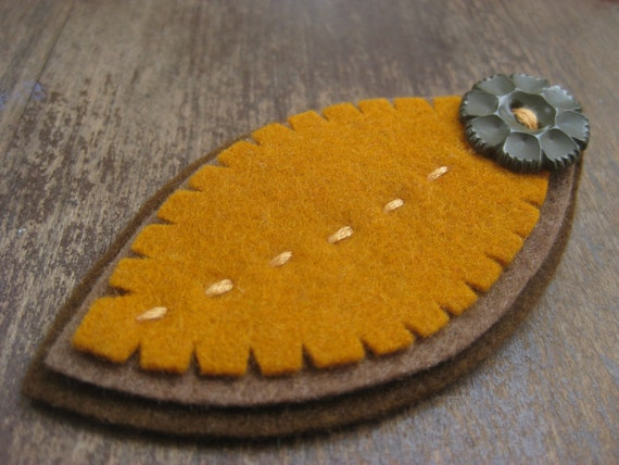 sale - felt feather clip with vintage button in spice, the littlest bean, gifts under 25
