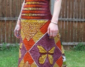 African wax print patchwork bustle gown