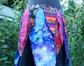 Reserved Silk batik petal pixie apron over  skirt