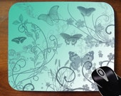 Decorative Mouse Pad Mousepad for Home or Office -- Butterflies and Flowers