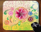Collage mouse pad with Vector Mod Floral Script