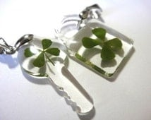 REAL natural Four 4 Leaf clover charms -- lock and key set