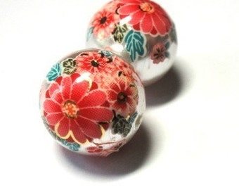 LAST 2 Japanese Tensha with Sakura Cherry Blossoms Beads on Silver Pearl background