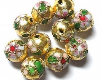 10 Cloisonne beads -- Gold Floral Rounds