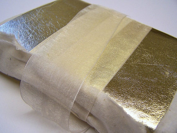 Gold Leather and Muslin Longstitch Journal Notebook - free shipping