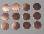 Copper Discs Round 1/2 inch 24 gauge 12 pieces