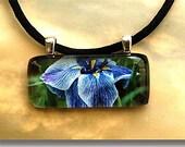 Glass Tile Photo Pendant - Purple Iris
