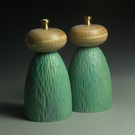 Salt and Pepper Mills - Turquoise and Rippled Maple MADE TO ORDER