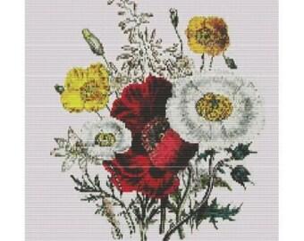 Antique Oriental Poppy, pattern for loom or peyote