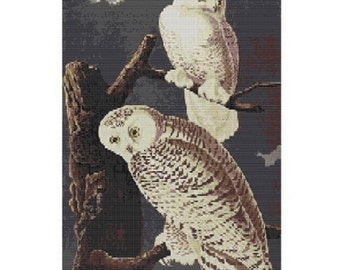Snowy Owls,bead pattern for loom or peyote in 2 sizes