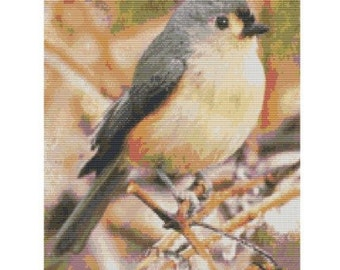 Tufted Titmouse, pattern for loom or peyote