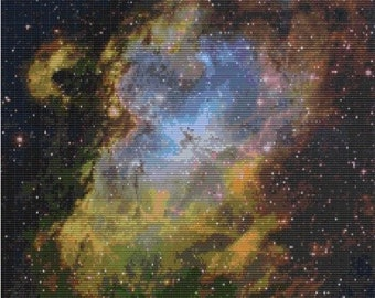 Hubble Eagle Nebula The Light Is Green,bead pattern for loom or peyote