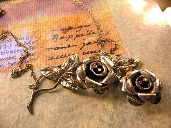 Repurposed Vintage Sterling Beau Flower Necklace