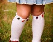 CherryLane Boutique Custom PENCIL Button Knee Socks