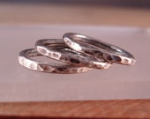 Stack Rings, - Set of 3 each. Hammered Fine Silver Ring,  All sizes available.