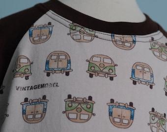 SALE - VW Volkswagen Camper Bus raglan shirt, size 8 years - Ready to Ship