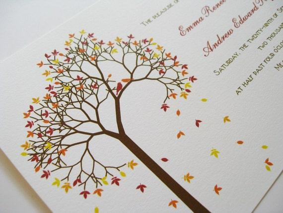 Fall Tree Wedding Invitation - Autumn Wedding