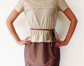 80's Dress - Two Tone Bronze & Beige Satin Secretary Dress - SIZE SMALL to MEDIUM