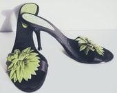 Vintage 90's - bebe Black & Green High Heeled Sandals