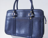 Vintage 70's - Navy Blue Vegan Leather Purse with Gold Hardware
