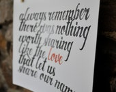 SHARE OUR NAME lettering print