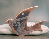 RESERVED for CAROL K. Etched Copper Flying Bird Charm with Patina Divine Spark Designs