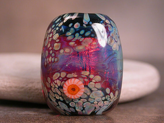 Lampwork Focal Bead Fiery Pink Orange JennyFriskeBaer Divine Spark Designs