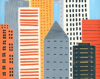 Orange Cityscape, 13x19 and 8.5x11, art print