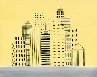 Yellow Cityscape, art print, 8.5x11