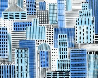 Blue Cityscape, 13x19, 8.5x11, art print