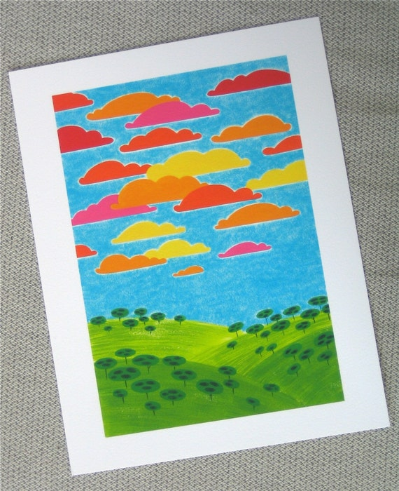 Neon Landscape, art print, 8.5x11, kids art