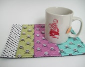 Mug Rug, Big Coaster, Quilted Pirate, Multicolor and Polka dots. Cotton Michael Miller Fabric. Handmade 9 x 6.5 inches