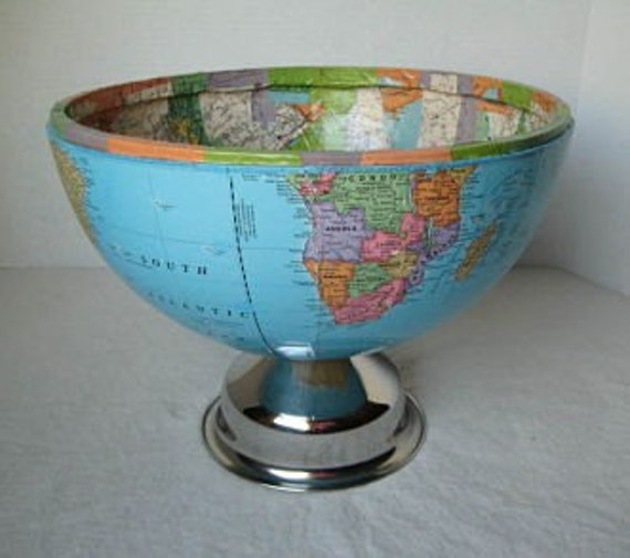Half the World - Globe Bowl, upcycled with vintage maps inside