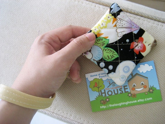 Square Key Holder/Coin Purse w Detachable Wrist Strap (Happy Cat)