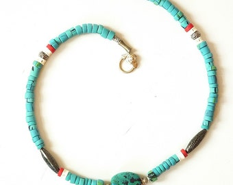 Faux Turquoise polymer clay necklace