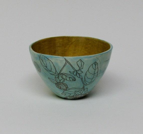 Turquoise Blue Quince Flower Ceramic Bowl