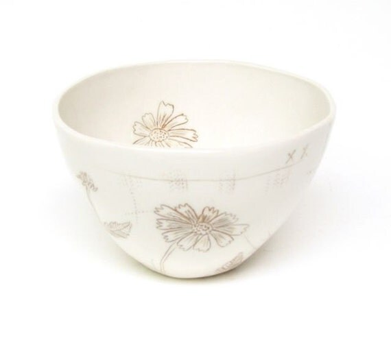 Sepia Flower Porcelain Bowl With Coreopsis Flower