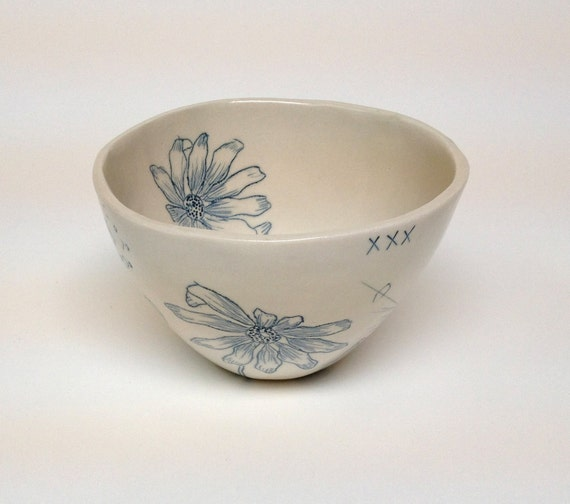 Teal Blue Inlay Porcelain Bowl With Black Eyed Susan