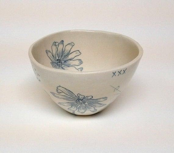 Teal Blue Inlay Porcelain Bowl With Black Eyed Susan