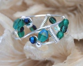 Wired Mosaic Ring in Blue