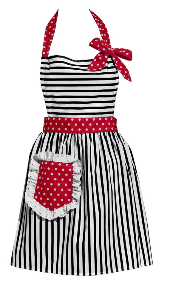 Black Stripes with Red Vintage Style Apron