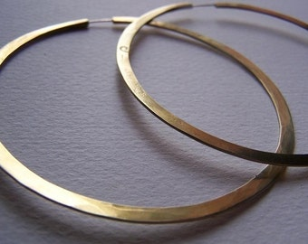 Endless Brass Hoop Earrings - Hammered Brass Hoops - Continuous style - Large Hoops